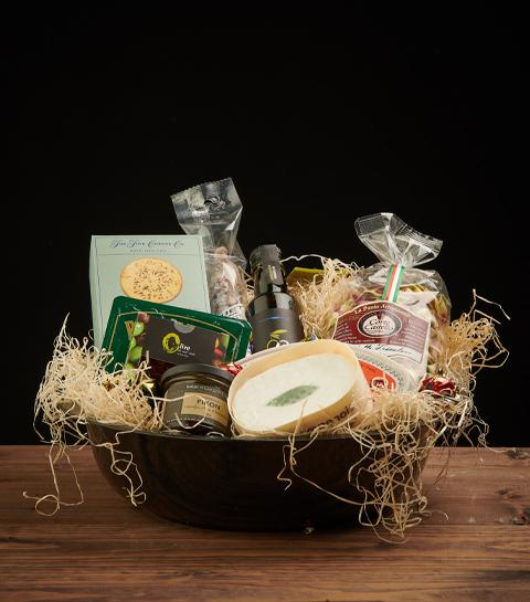 Korg, ost, olja, kex, ostbricka